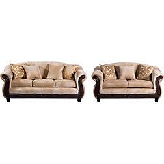 Juego de Living sofá 3 cuerpos + sofá 2 cuerpos beige