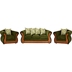 Living verde, tapiz tela chenille, espuma alta densidad y cojines