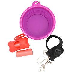Pack plato silicona+porta bolsa 2 bolsas+cinturón auto morado/rojo