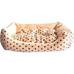 Cama de perro pequeña café/lunares