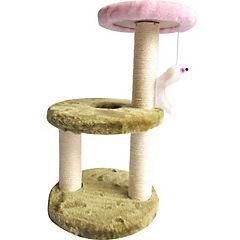Rascador de gato dos pisos rosado/verde