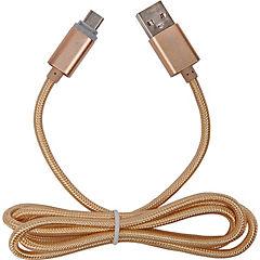 Cable microusb dorado indicador de carga 1mt