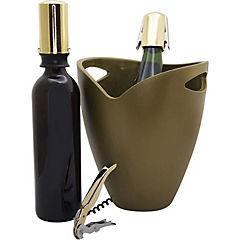 Set 4 accesorios dorado para vino