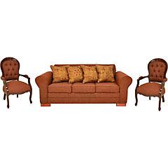 Sofá terracota, tela chenille patas de madera y sitial pino insigne