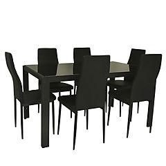 Comedor negro,cubierta de vidrio templada 10mm silla pu negro