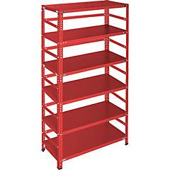 Estantería rojo con retenedores y 6 bandejas 90x30x200 cm
