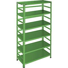 Estantería verde con retenedores y 6 bandejas 90x30x200 cm