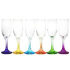 Set 6 copas flute versalles pie color