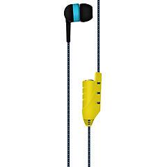 Audífonos con micrófono y adaptador para compartir música azul