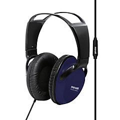 Audífono full size con micrófono azul