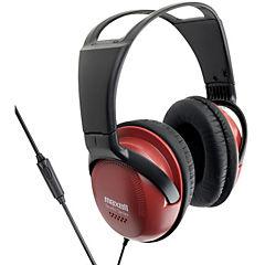 Audífono full size con micrófono rojo