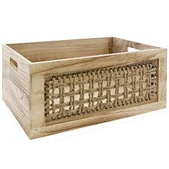 Caja madera tejido 37x27x17 cm