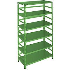 Estantería verde con retenedores y 6 bandejas 90x40x200 cm