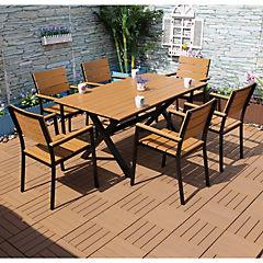 Set de terraza rectangular 6 personas de aluminio
