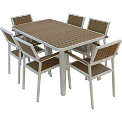 Set de terraza 6 personas de aluminio