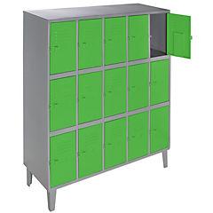 Lockers metálico 5 cuerpos 15 puertas color verde
