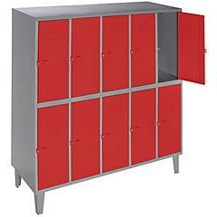 Lockers metálico 5 cuerpos 10 puertas color rojo