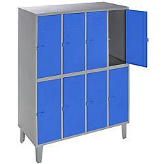 Lockers metálico 4 cuerpos 8 puertas color azul
