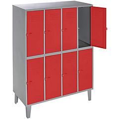 Lockers metálico 4 cuerpos 8 puertas color rojo