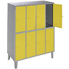 Lockers metálico 4 cuerpos 8 puertas color amarillo