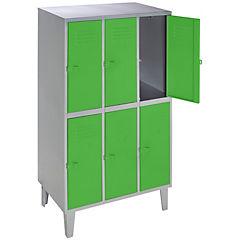 Lockers metálico 3 cuerpos 6 puertas color verde