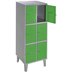 Lockers metálico 2 cuerpos 6 puertas color verde