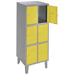 Lockers metálico 2 cuerpos 6 puertas amarillo