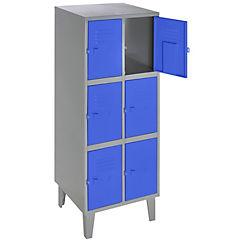 Lockers metálico 2 cuerpos 6 puertas color azul