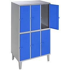 Lockers metálico 3 cuerpos 6 puertas color azul