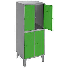 Lockers metálico 2 cuerpos 4 puertas color verde