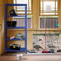 Estantería azul 5 bandejas 90x30x200 cm