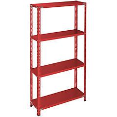 Estantería rojo 4 bandejas 90x30x200 cm