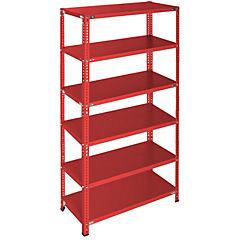 Estantería rojo 6 bandejas 90x40x200 cm