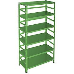 Estantería metálica verde con retenedores y 6 bandejas 90x50x200 cm