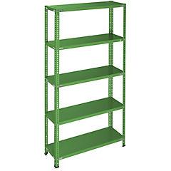 Estantería verde 5 bandejas 90x30x200 cm