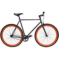 Bicicleta urbana 28 gris matte y ruedas naranjas L