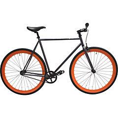Bicicleta urbana 28 gris matte y ruedas naranjas S