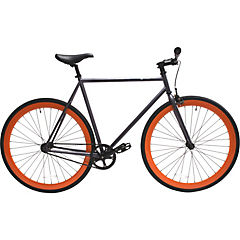 Bicicleta urbana 28 gris matte y ruedas naranjas M