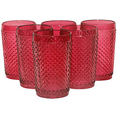Set 6 Vaso Largo Rojo
