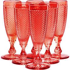 Set 6 copas Champagne Rojas
