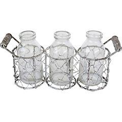 3 Botellas con base vidrio 11x23 cm transparente