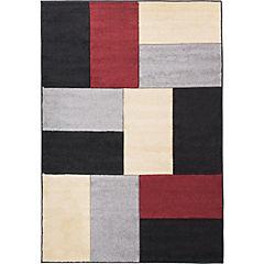 Alfombra Hawái Cuadros Negro/Rojo 150X220 cm