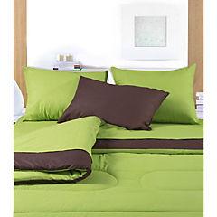 Plumón 144 hilos bicolor 1,5 plazas verde y café