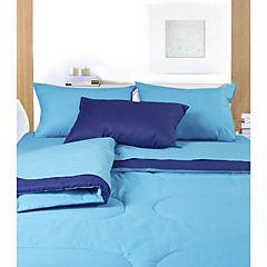 Plumón 144 hilos bicolor 2 plazas azul y calipso