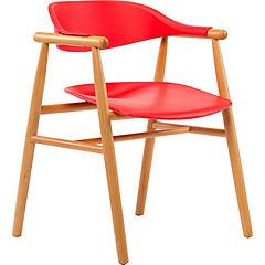 Silla polipropileno madera craddle rojo