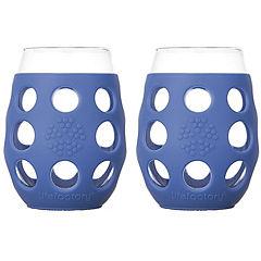 Pack 2 vasos de vino con funda de silicona 325 ml azul