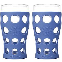 Pack 2 vasos de agua con funda de silicona 600 ml azul