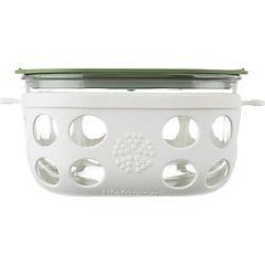 Contenedor de vidrio con funda de silicona 950 ml blanco/verde