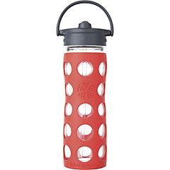Botella de vidrio con bombilla y funda de silicona 475 ml rojo flúor