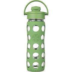 Botella de vidrio con boquilla flip y funda de silicona 475 ml verde